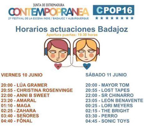 Horarios Contempopránea Badajoz