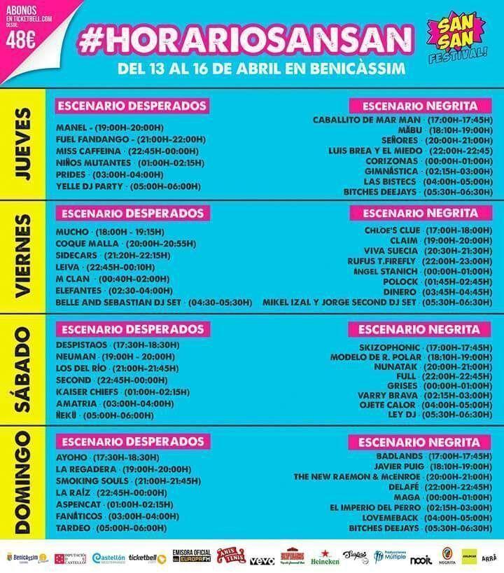 Horarios Sansan Festival 2017