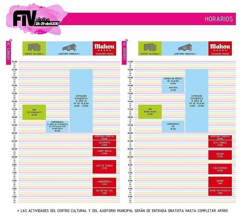 horarios fiv 2017