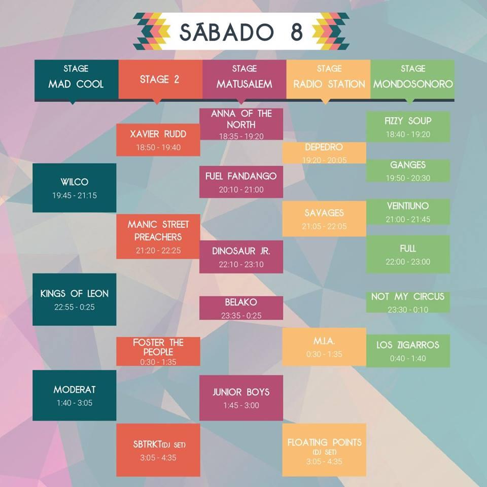 Horarios Mad Cool Sabado 2017