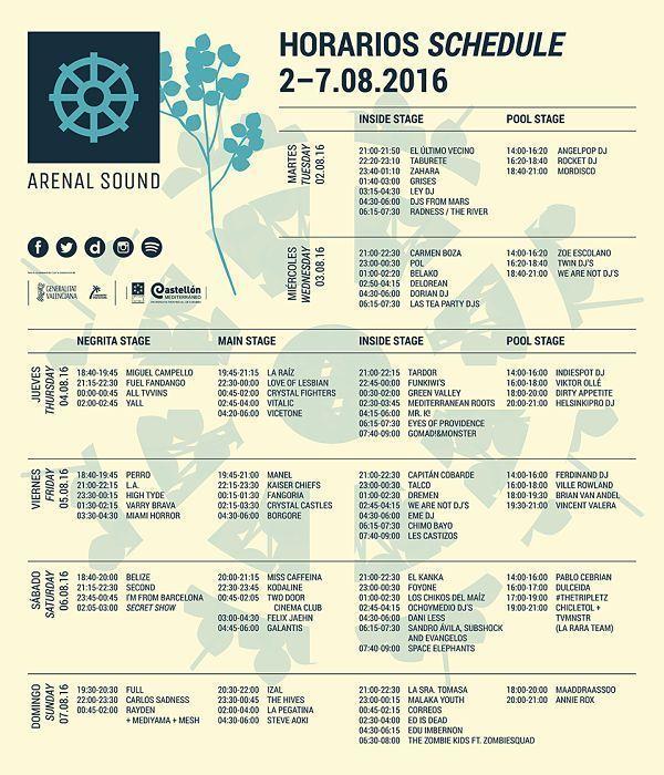 horarios arenal sound 2016