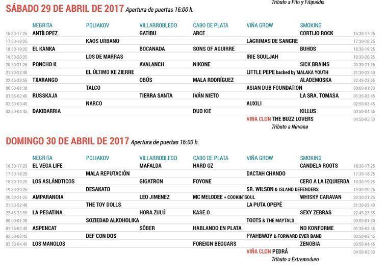 horarios viña rock 2017 sabado y domingo