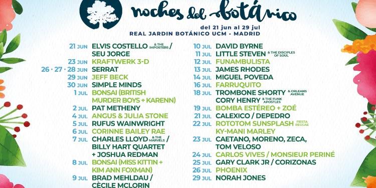 Noches del Botánico 2018 completa cartel