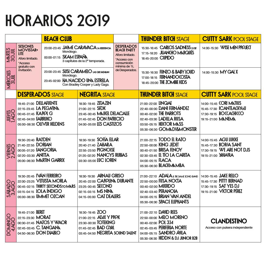 horarios arenal sound 2019