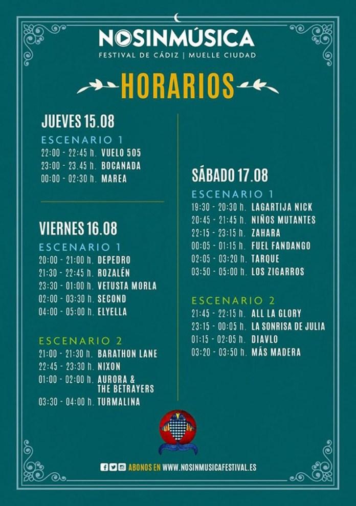 HORARIOS NO SIN MUSICA 2019